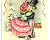 Vintage - DESIGNED LOVERS Kissing -Snow LANDSCAPE -Sweet Couple fancy clothes -French colorful Designed Postcard- Greetings - Good Condition