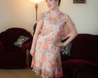 Vintage 1920s Dress - Fantastic Bright Rose Print Sheer Silk Chiffon 20s Dress with Fluttering Hemline and Capelet Collar