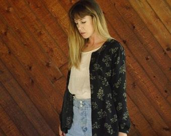 Black & Gold Floral Slouch Shirt Jacket Blazer - Vtg 90s - MEDIUM
