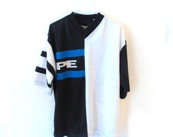 90s PERRY ELLIS Jersey B&W Jersey Reflective Logo