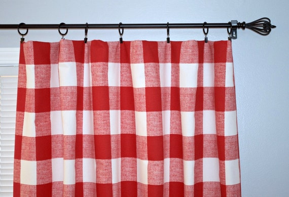 Red Buffalo Check Curtain, Pair of Rod Pocket Panels - Premier Prints ...