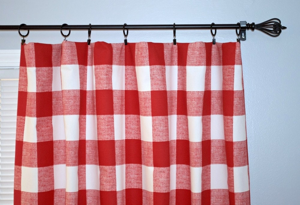 Red Buffalo Check Curtain Pair Of Rod Pocket By Beeyourselfdesigns