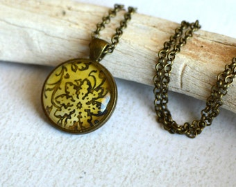 Glass Flower Pendant with Chain- Bronze Flower Pendant- Yellow Flower Necklace- Earthy Pendant- OOAK Flower Necklace