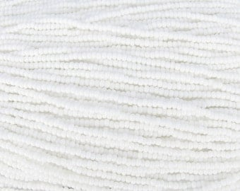 8/0 Opaque White Czech Glass Seed Bead Strand (CW78)