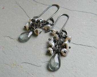 White Petal Pearl and Blue~Green Moss Aquamarine Gemstone Dangle Earrings-Artisan