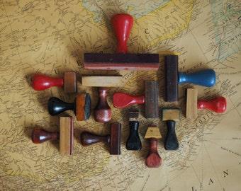 Set of 12 Vintage Wooden Rubber Stamp Mounts - Set No. 1