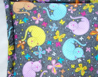 Catnip Cushion -  Pastel Polka Dot Cats and Butterflies on Gray - Grey Country Style Cat Bed - 16 3/4 x16 3/4  Cat Mat - Gifts for Pets