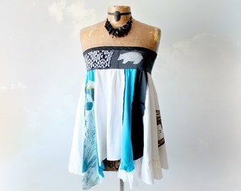 Boho Chic Top Patchwork Skirt Polar Bear Shirt Upcycled Clothing Hippie Clothes Lagenlook Layered Loose Flowing Strapless Top M L 'CASSIE