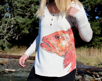 Ladies Lingcod Print Button Down Henley