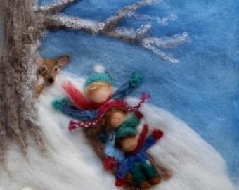 Waldorf Seasons Winter Needlefelt Wool Painting, Custom
