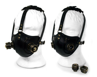 "STEAMPUNK LEATHER Mask black leather Respirator Raider Double ""M"" Filters"