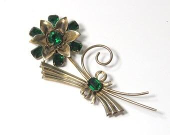 Vintage Flower Brooch Green Rhinestones, Large Sterling Silver Vermeil Pin, Deco 40's