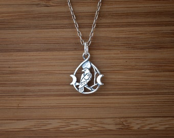 Little Raven Triple Moon - Double Sided Raven Charm - STERLING SILVER - (Charm, Necklace or Earrings)