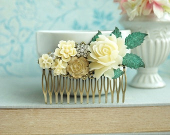 Bridal Hair Comb, Wedding Hair Accessory Ivory Gold Rose Large Comb Rhinestone Flower Comb, Large Leaf Branch Comb, Vintage Rustic Wedding