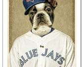 Toronto Blue Jays Art Magnet Boston Terrier Gifts under 10 Dog Magnets Handmade Baseball MLB Made in Canada - Oswald goes to a Jay's Game