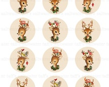 Reindeer Collage Sheet 2 inch Circles Digital Download vintage transfer card holiday xmas christmas gift tags deer image antlers ornament