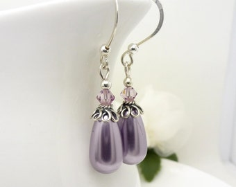 Purple pearl earrings, sterling silver, long pearl drop earrings in lavender and lilac purple