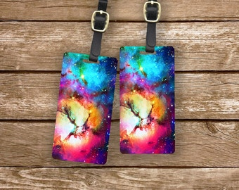 Personalized Luggage Tags Unicorn Rainbow Space Nebula Metal Tags Luggage Tag Set Personalized