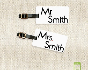 Luggage Tags Mr and Mrs  Last Name on Front, Printed Address, Quote or Text On Back All METAL tags VERSION 3