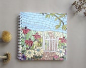 Floral Notebook with Blank Pages ~ spiral bound ~ gift under 5 pounds ~ mosaic flowers ~ gardeners gift ~ thank you gift ~ gift for teacher