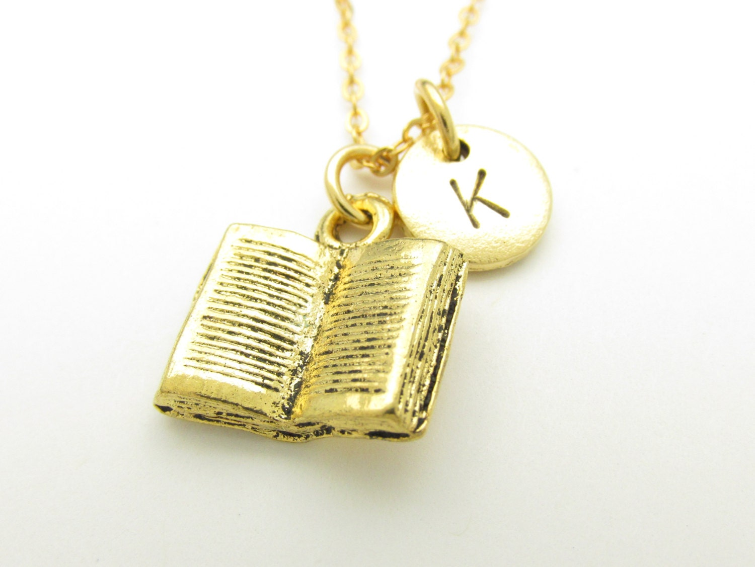 book necklace open book charm initial necklace