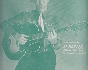 Pistol Packin' Mama 1943 Sheet Music by Al Dexter Guitar Cowboy Hat Country Western