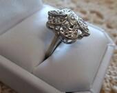 Beautiful Vintage 14 Karat White Gold Diamond Ring