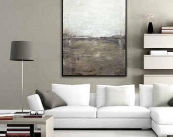 Original Framed Painting Large Abstract Art Modern Contemporary Art Gray Earth Tones Abstract Oil Painting Urban Grunge Landscape