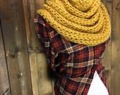 Chunky Cowl Scarf Shawl Hood Crochet Neckwarmer - KEMANO - HONEY