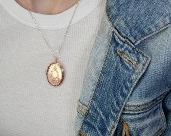 Pink Gold Locket, Girlfriend Gift Necklace, Rose Gold Oval Floral Locket Pendant, Long Floral Long Locket, Modern Locket