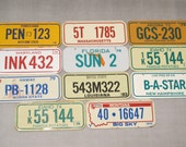 Vintage Miniature Auto License Plate / Your Choice of 1 Bicycle Bike Mini Tin Plate Collectors Item Altered Art Steampunk Assemblage Collage