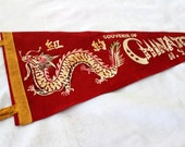 Vintage Chinatown Pennant. 1960s Red Felt Pennant. China Town. Dragon Pennant. Chinese Pennant. Travel Souvenir