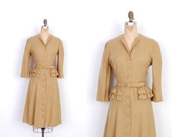 Vintage 1950s Dress / 50s Wool Peplum Dress / Camel (medium M)