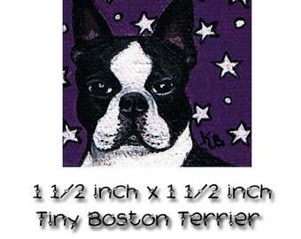 Dog Art, Miniature Painting, acrylic painting, Boston Terrier