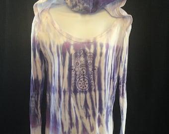 Hamsa extra long sleeved hooded t-shirt in Purple