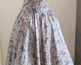 Novelty Print Butterflies Vintage Shelf Bust Prom Party Dress w Netting 1950's