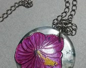 Handmade Etched Copper Pink Hibiscus Necklace
