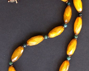 SALE Vintage Amber Lucite Necklace Faceted Butterscotch Beads w Green and Copper Accents Rich Glowing Colors OOAK Boho Jewelry