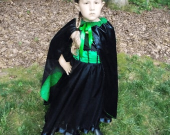 Wicked Witch Dress: black & green tutu, tutu dress, cape, costume, birthday, vacation, adjustable, wicked witch of west, wizard of oz