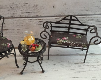 Miniature Garden Bench With Cushion, Wire Bench by Reutter, Collectible Dollhouse Miniature, 1:12 Scale, Made in Germany, Garden Bench