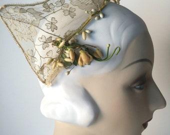 Vintage 30s Hat, Russian Halo Style Tiara, Headdress, Kokoshnik, Cream Lace, Floral Trim, Crocus, Green Leaf, Wedding, Bridal, Festival