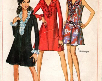 1960s Mini Dress with Ruffle Collar - Vintage Pattern Simplicity 7746 - Bust 34