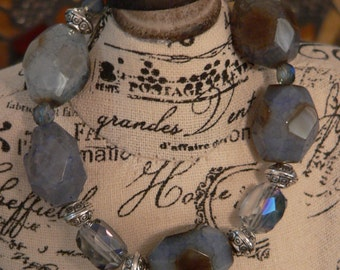 Blue bracelet, Smoky blue agate, blue agate bracelet, bold blue bracelet, chunky bracelet, boho bracelet, bold bracelet, gift for her