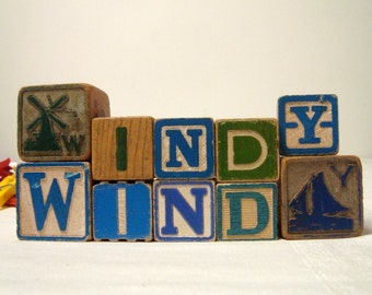 Wind Energy 10 Toy Block Letters Blue Green Wood ABC Blocks Earth Day Vintage