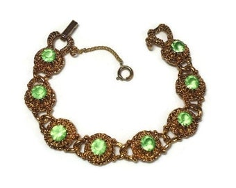 60s Green Rhinestone Bracelet with Chaton Cut Givre Crystals Pave Set in Gold Filigree Chain Link - Vintage 60's Costume Jewelry