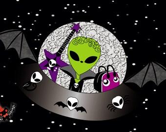 Alien spaceship print
