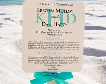 Fan Wedding Program, Aqua Wedding Program, Beach Program Fans, Aqua Fan Program, Destination Program Fan - The Beach Program Fan Sample