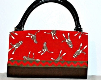 Two Tone Red, Brown, Black SOCK MONKEYS Magnetic Bag Shell Cover