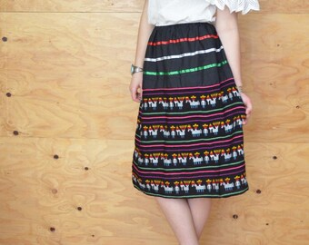 Vintage Ethnic Guatemalan Black Rainbow Wool Striped Skirt Ribbon Detail SZ S