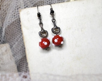 Beaded Earrings | Rustic Assemblage | Red & White Lampwork Glass Beads | Oxidized Metal | Faceted Black | Sterling Silver Handmade Ear WIres